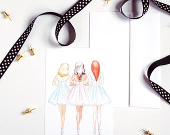 Friendship Print, Fashion Illustration, Watercolor Print, Small Art Print, Greeting Card, Bridesmaid Gift, Gifts For Her, Home Decor