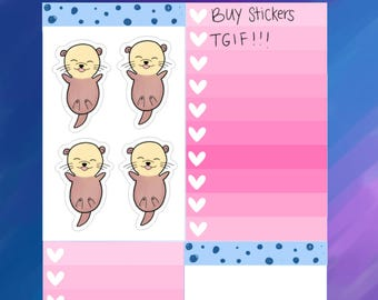 Happy,  Excited Otterly Adorable Otter Planner Stickers (O03)