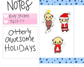Otterly Adorable: Christmas, Holidays, Seasons Greetings, Santa Stickers for the Holidays (O11)