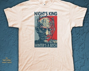 """NIGHT'S KING """"HOPE"""" style T-Shirts - pre shrunk 100% Cotton short sleeve t-shirt - Game Of Thrones"""