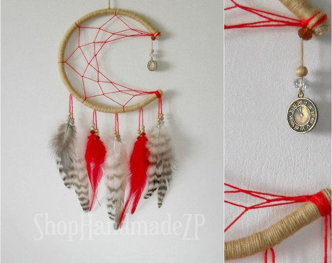 Red dream catcher moon boho dreamcatcher red home decor red wall hanging dream catcher small dream catcher fire dream catcher red suede