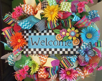 Summer Wreath, Summer Mesh Wreath, Everyday Wreath, Welcome Wreath, Whimsical Wreath
