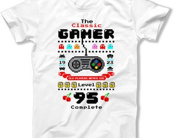 95th Birthday Shirt Personalized Age Custom Gift Ideas For Men Bday Present T Shirt The Classic Gamer Level 95 Complete Mens Tee DAT-1078