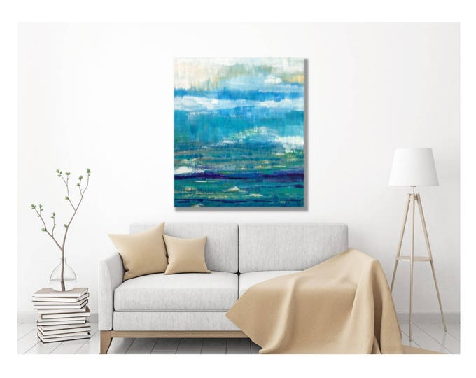 Seascape Abstract Painting -- Modern Coastal Canvas Print, Large Seaglass Sea Glass Wall Art, Large Abstract Painting, Seascape Beach