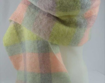 "St Michaels MOHAIR Scarf Wrap Shawl Made in Scotland Pastels Plaid 16""x70"""
