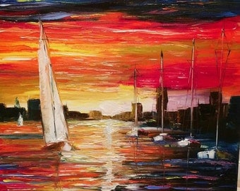 "Sail boats - Ocean - sunset - city - wall art - Large art ""New York sunset"" by U.S. Artist Greg Gilreath"