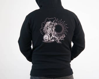 Freyja Hooded Sweatshirt  |||  freya, freja, norse mythology, viking, goddess, cats, cat chariot, Norwegian