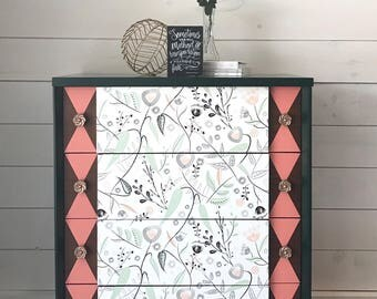 Mid-Century Modern Chest Of Drawers / Rose Gold / Emerald / Blush