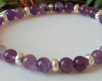 Amethyst Crystal Bracelet 8 mm and Tibetan silver rondelle beads