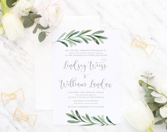 Printable Wedding Invitation Suite / Wedding Invite Set - The Rosemary Suite