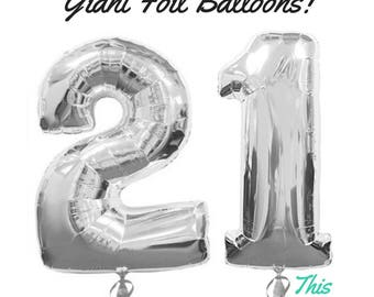 """Silver 21st Birthday Party Decorations 100cm (40"""") Helium Giant Foil Balloons"""