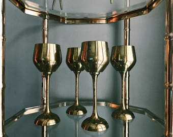 Vintage Set of Four (4) Brass Wine Goblets / Hollywood Regency Brass Wine Glasses / Made In India