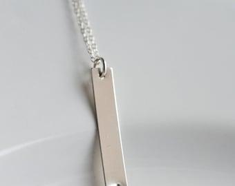 Vertical Bar Necklace Mom, Name Bar Necklace, Personalized Bar Necklace, Initial Bar Necklace, Sterling Silver, Gold Filled Rose Gold Fill