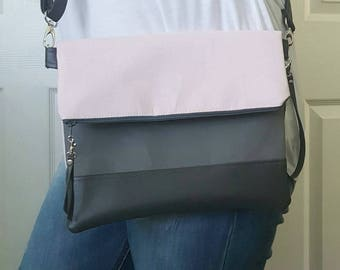 Blush Pink Gray Crossbody Bag, Gray Faux Leather, Crossbody Purse, Clutch Purse, Wristlet, Shoulder Bag, Handbag, Birthday Gift, Birthday