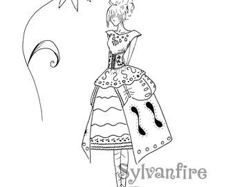 Girl with Side Bustles: Fashion Illustration