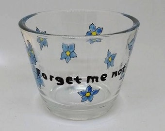 tealight holders, hand-painted tealight holders, forget-me-not flowers, painted glass, floral, small gifts