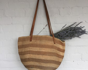 Woven straw shoulder bag tote bag leather straps rattan