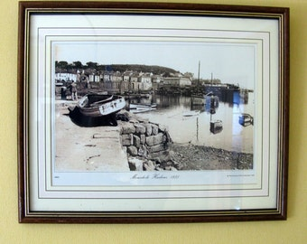 Old English Landscape Photograph / Mousehole Harbour / Fishing Boats / Framed / Sepia / Old Photo / Picture / Print / Authentic / 1935