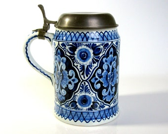 """60,s Large Lidded Beer Stein / Hand Painted Delft / Beer Mug / Pewter Lid / Mid Century / Oud Delft/ Delft / 7 1/2 """"/ Man Cave / Collectible"""