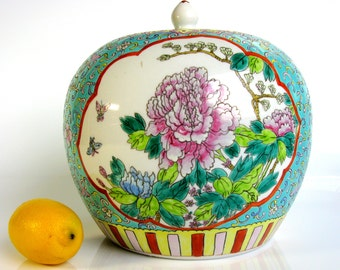 "Antique / Chinese Porcelain Covered Jar / Peonies / Lotus / Large / Famille Rose / Jar With Lid / Vase / Turquoise / Hand Painted / 9"" Tall"