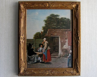 Dutch / Old Masters / Painting / Print Reproduction / Wood and Gesso Frame / Pieter de Hooch / A Dutch Courtyard / Holland / Shabby Chic
