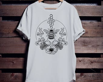 Save The Bees! Bee Conservation T-shirt - Floral - Profits Donated For Bees