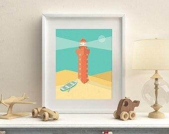 "Terracotta Lighthouse Print 8"" x 10"", Nursery Art, Nursery Decor"