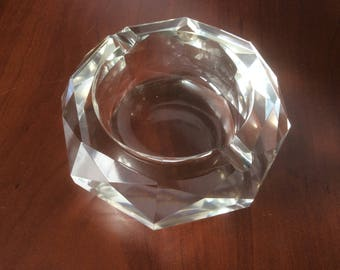 Vintage Chunky Faceted Glass Ashtray, Two wells