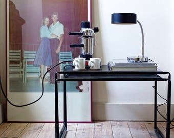 Black perforated modern vintage side tables | Black perforated modern vintage side tables