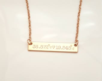 Personalized Necklace, Bar Necklace, Coordinate Necklace, Gold Necklace, Rose Gold Jewelry, Silver Necklace, Gift for Her, Long Distance