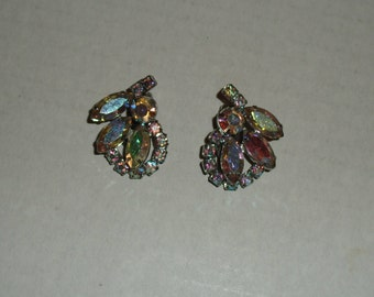 WEISS Rhinestone Clip-On Earrings