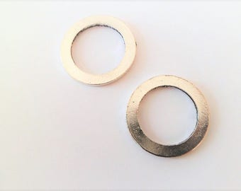 Large flat rings in antique silver