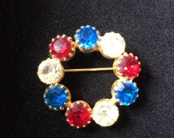 Vintage 1960's Gold tone Circular Patriotic Gemstone Brooch - Red, Clear, and Blue