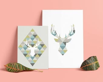 Lot 2 posters Scandinavian Nordic - origami deer - Deco inner - vector - download - my P'tites prints