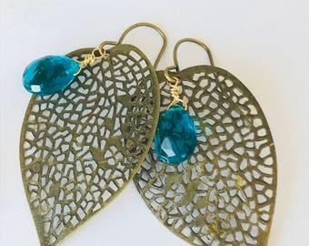Quartz Earrings Leaf Earrings Boho Earrings Bohemian Earrings Green Earrings Dainty Earrings
