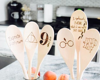 Harry Potter Wood Burned Spoons | Kitchen Wooden Spoons | Fan Christmas Gifts