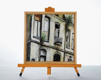 "Architecture Painting Art Acrylic Original // ""Romance""  12x12"" Wooden board and framed by JulietteAnne"