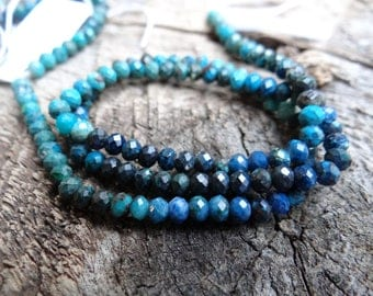 Chilean Azure Turquoise Navy Shaded Chrysocolla | Faceted Round Rondelles | 3-3.2mm | Sold in Sets of 12 Beads