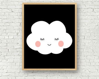 Cloud Art Print - Kids Cloud Wall Art - Monochrome 8x10 printable art digital art print kids room decor instant download 8x10 art print