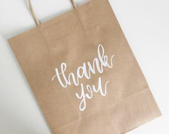 Thank You Kraft Bags! | Perfect for weddings, dinner parties, birthdays, bachelorettes, bridal shower, parties, events and more! |