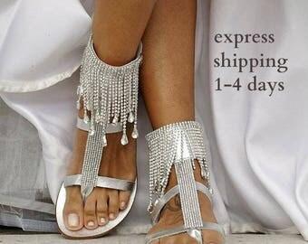 "Handmade to order/ Wedding sandals/ Bridal sandals/ Wedding shoes/ Leather sandals/ Chic sandals/ Beach sandals/ Silver sandals/ ""STARLET"""