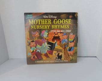 Vintage 1964 Vinyl 33 1/3 RPM  Disneyland Records, Walt Disney Mother Goose Nursery Rhymes With Sterling Holloway Music by Camarata  2040