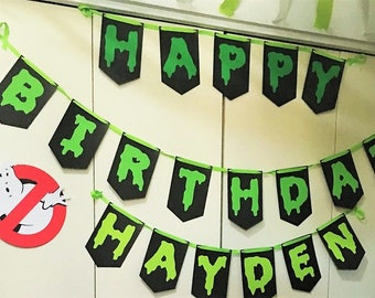 Ghostbusters Happy Birthday Banner with No-Ghost sign