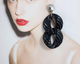 Vintage Black Acrylic Double Drop Earrings (Clip-on)