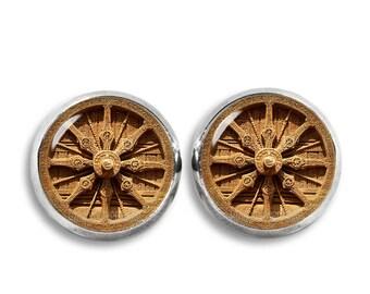Dharma Wheel Stud Earrings Dharmachakra Earrings 12mm Buddhist Earrings Buddhist Jewelry