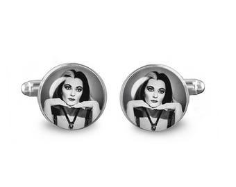 Lily Munster Cuff Links Gothic Cuff Links 16mm Cufflinks Gift for Men Groomsmen Novelty Cuff links Fandom Jewelry