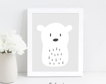 Nursery Wall Art, Polar Bear Nursery Print, Bear Printable Wall Art, Baby Gift, Scandinavian Art, Nursery Print, Digital Download Art