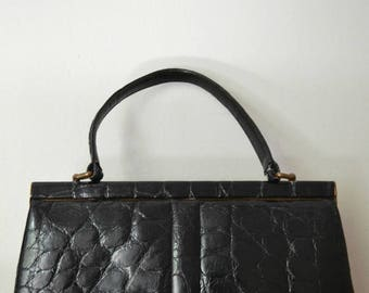 Vintage 60s black leather Finnigans of Bond Street handbag bag