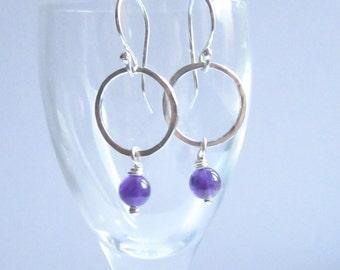 silver earrings, silver hoops, silver dangles, silver drop earrings, silver and amethyst, amethyst drop earrings, amethyst bead earrings
