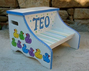 Personalized kids step stool Children's chair Hand painted children's furniture Wooden bench
